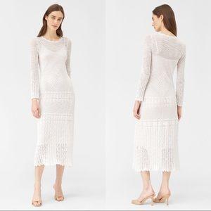 Rebecca Taylor White Sheer Pointelle Midi Dress